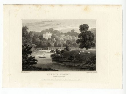 1831 Antique Print SUFTON COURT MORDIFORD Herefordshire